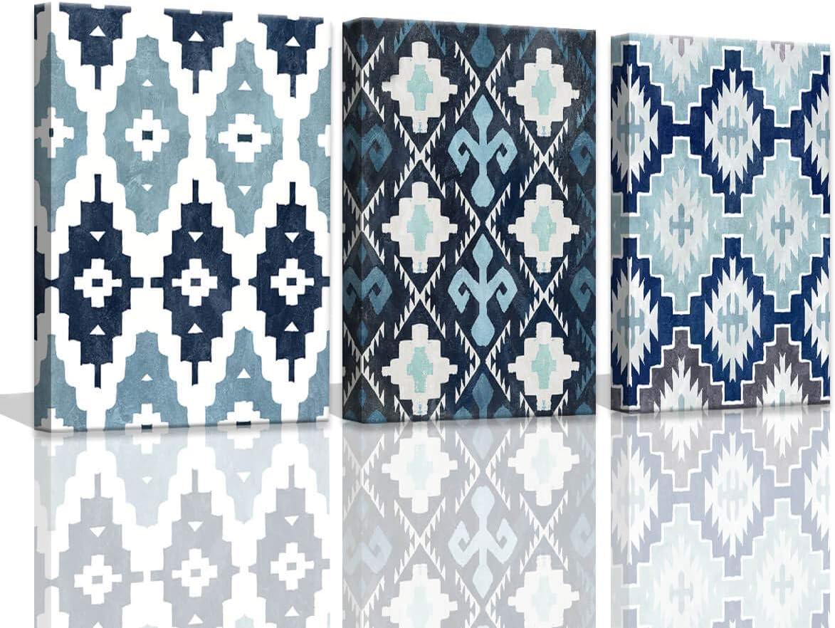 Blue Wall Art Decor Bathroom Artwork for Home Walls Shibori Tie Dye Navy Blue Wall Decor Geometric Ethnic Pattern Bid Century Modern Decor Wall Pictures Print on Canvas Art Set Wall Decor for Bedroom
