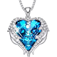 Sterling Silver Necklace for Women Angel Wing Heart Crystal Pendant Crystals from Swarovski Jewelry with Gift Box, Anniversary, Mothers Gift