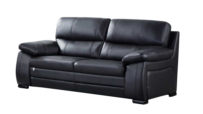 "American Eagle Furniture EK041-BK-SF.V2 Elmore Modern Italian Leather Living Room Sofa, 87"", Black"
