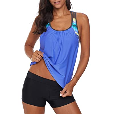 Aleumdr Womens Blouson Striped Printed Strappy T-Back Push up Tankini Top with Shorts at Women's Clothing store