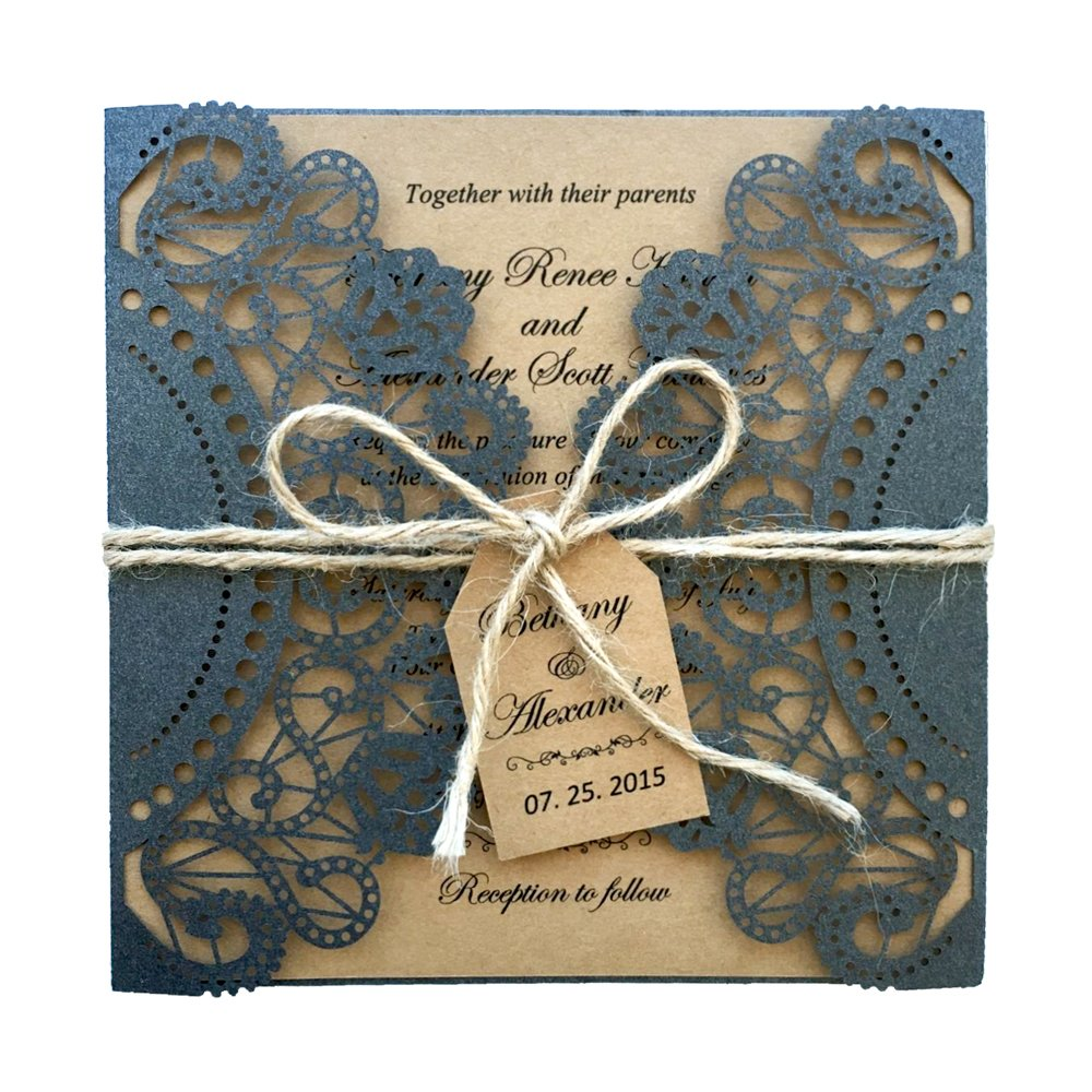 Black Wedding Invitations Rustic Invitation for Wedding - Set of 50