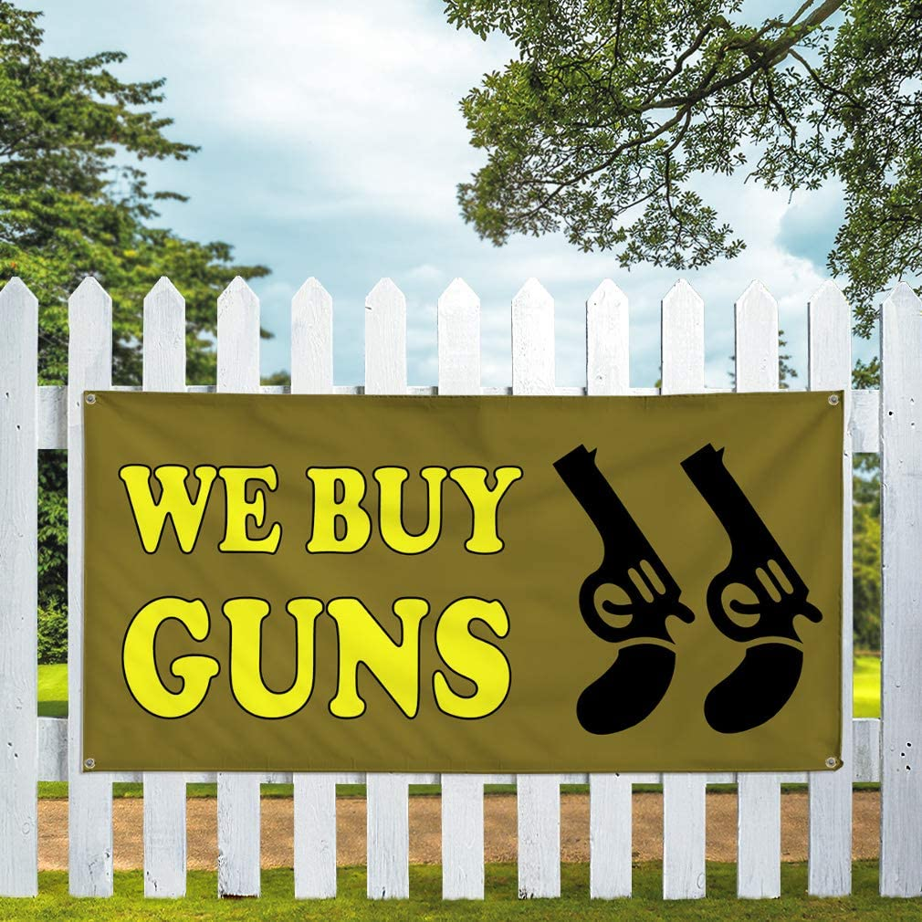 6 Grommets 32inx80in Set of 2 Multiple Sizes Available Vinyl Banner Sign We Buy Guns #1 Style A Business Guns Marketing Advertising Yellow