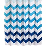"FindNew Mildew-Free Water-Repellent/Waterproof Eco-friendly Odor Resistant Fabric Long Shower Curtain for Bath with Hooks (72"" X 72"", Blue Wave)"