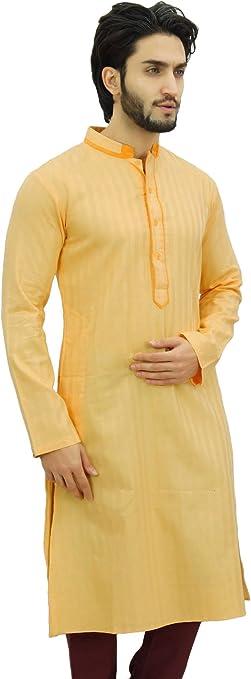 Atasi Camisa de Cuello Largo de Algodon de Color Blanco Para Hombres. Ropa Etnica