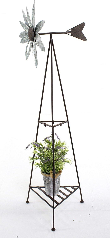 DARO DEKO Metall Windrad XXL mit Ablage 120cm