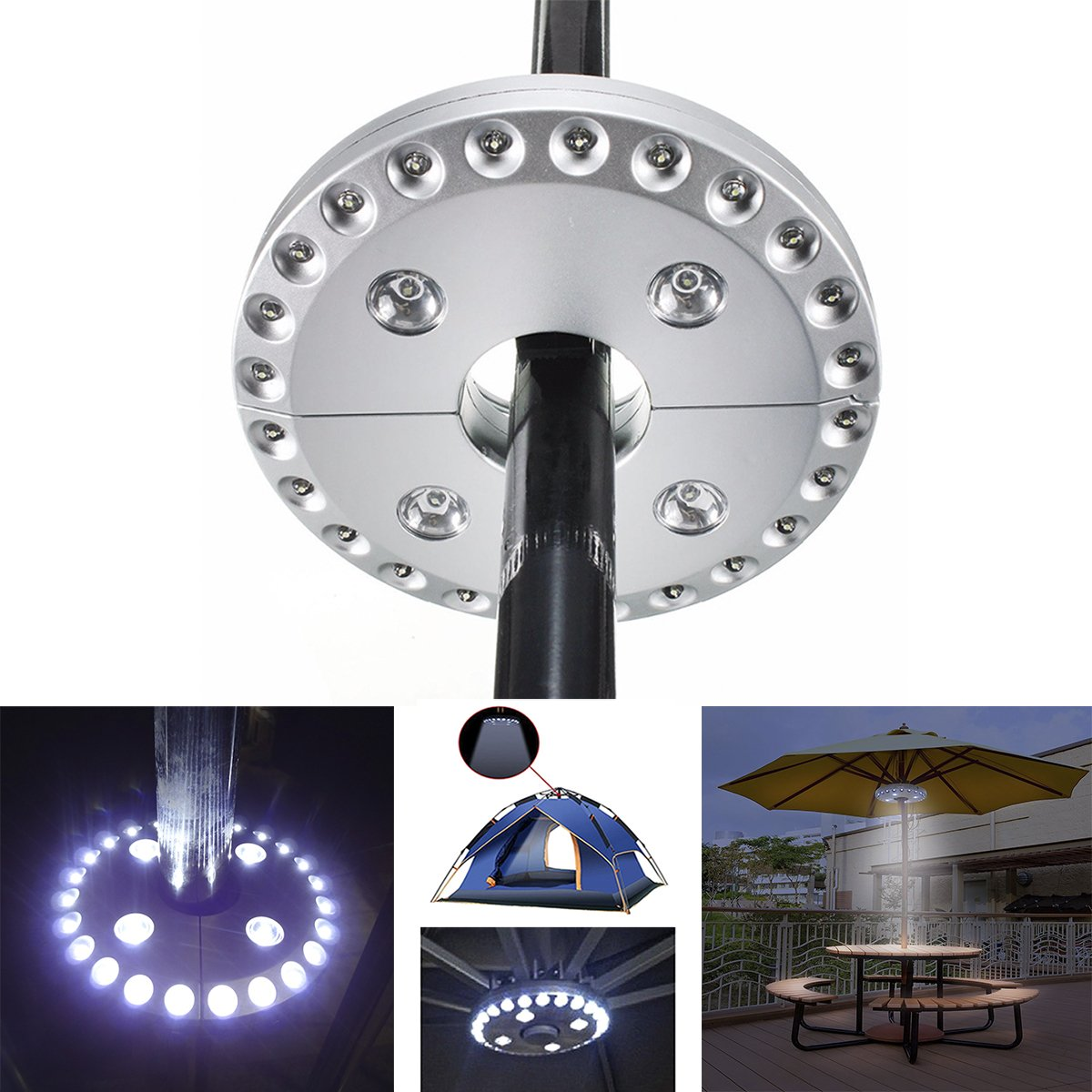 Miaoo 28 LED Cordless Parasol Lights with 28 Super Bright LED for Patio Umbrellas, Camping Tents or Outdoor Activities (Black)