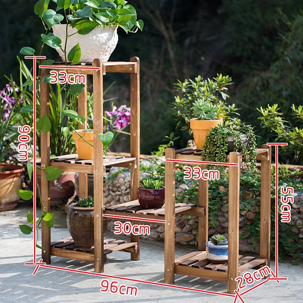 LJHA huajia Solid Wood Combination Flower Shelf Wooden Floor Multi - Storey pots Balcony Living Room Interior Flower Rack (Size Optional) by GYH Flower stand