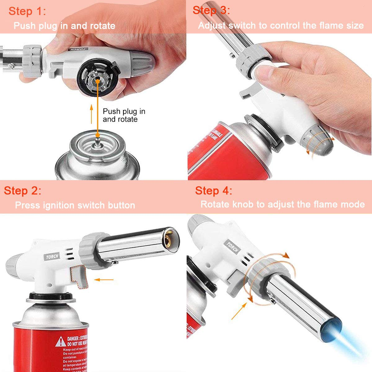 Cooking Cr/ème Brulee Torch Lighter Butane Blow Torch Adjustable Flame Kitchen Chef Culinary Torch