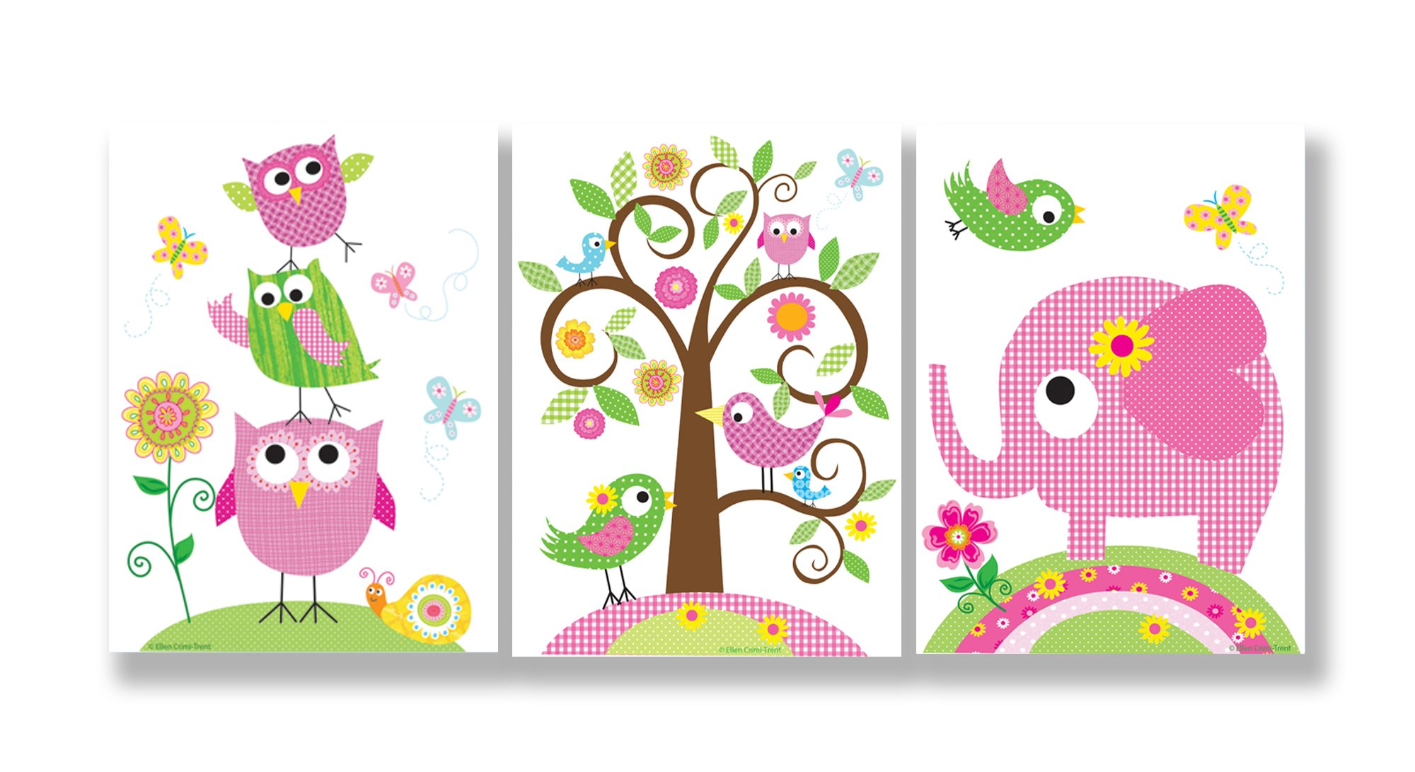 The Kids Room by Stupell Owls, Birds, and Elephant 3-Pc. Rectangle Wall Plaque Set, 11 x 0.5 x 15, Proudly Made in USA by The Kids Room by Stupell
