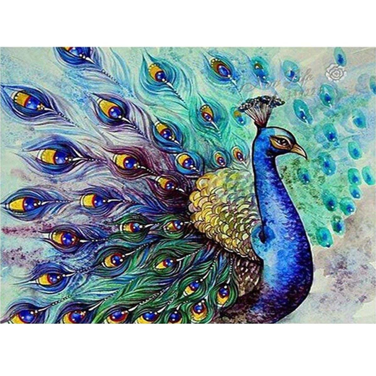 DIY 5D Diamond Painting Kit, Peacock Opening Crystal Drill Rhinestone Embroidery Cross Stitch Supply Arts Craft Canvas Wall Decor 11.8x15.8 inch AIRDEA