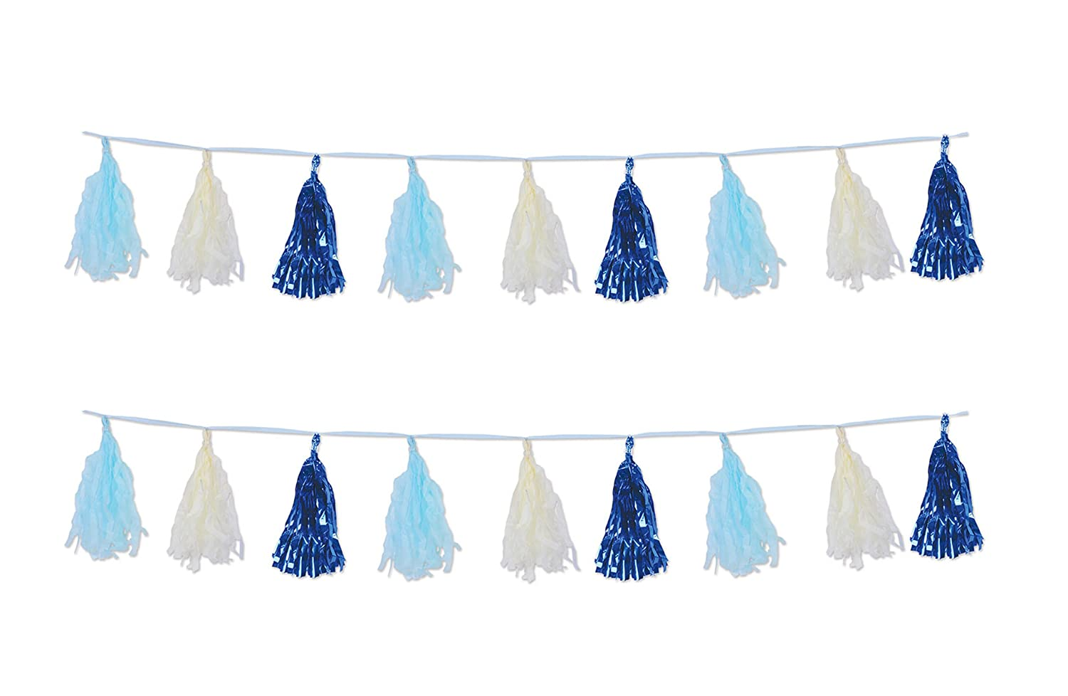 Beistle 59928-B Beistle 59928-B Blue//Light Blue//Ivory 9.75 x 8 9.75 x 8 2 Piece Metallic /& Tissue Tassel Garland