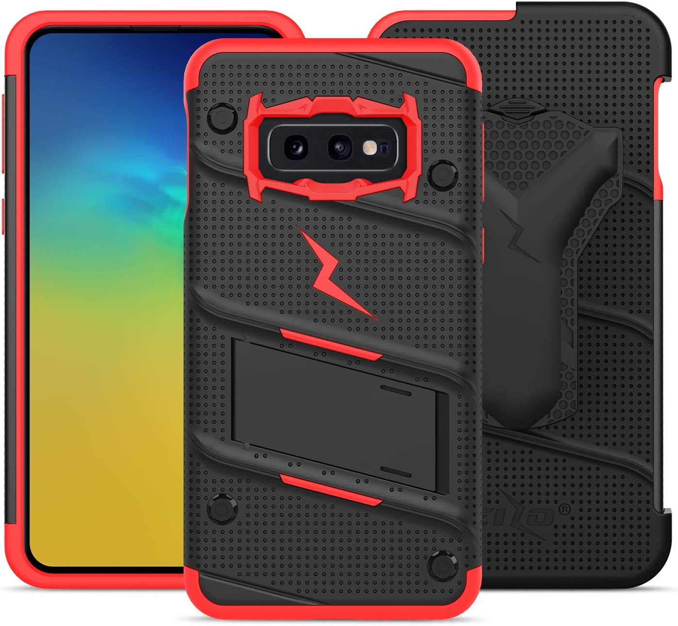 ZIZO Bolt Galaxy S10e Case Heavy-Duty Military Grade Drop Tested Bundle with Tempered Glass Screen Protector Holster and Kickstand Black Red