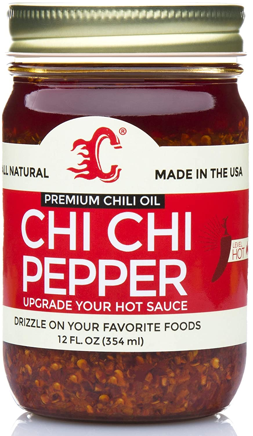 Chi Chi Pepper - (Extra Spicy) Hot Premium Chili Crisp Sauce with Olive Oil and Crunchy Garlic (Large 12 OZ) Versatile Condiment Vegan & Keto Friendly All Natural Made in USA