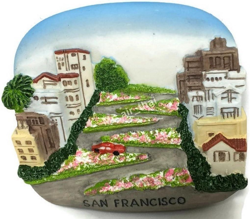 Lombard St.San Francisco USA Souvenir Collection 3D Fridge Refrigerator Magnet Hand Made Resin