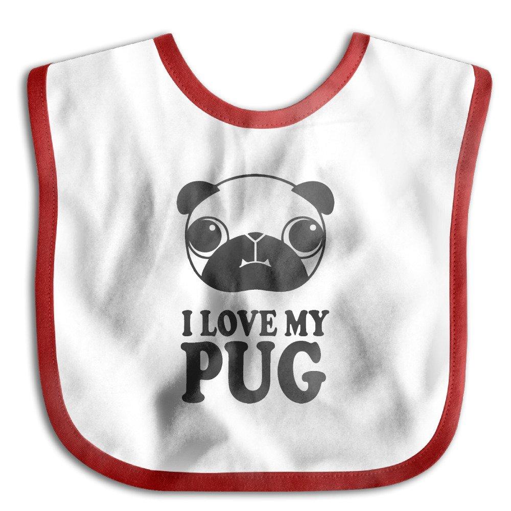 MGDBB Kids' Water Absorbent Gifts I Love My Pug Teething Bibs