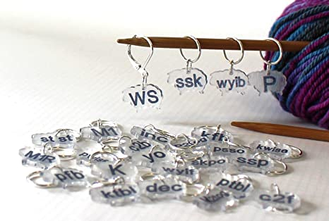 Amazon 47 Knitting Abbreviation Stitch Marker Pattern Reminder