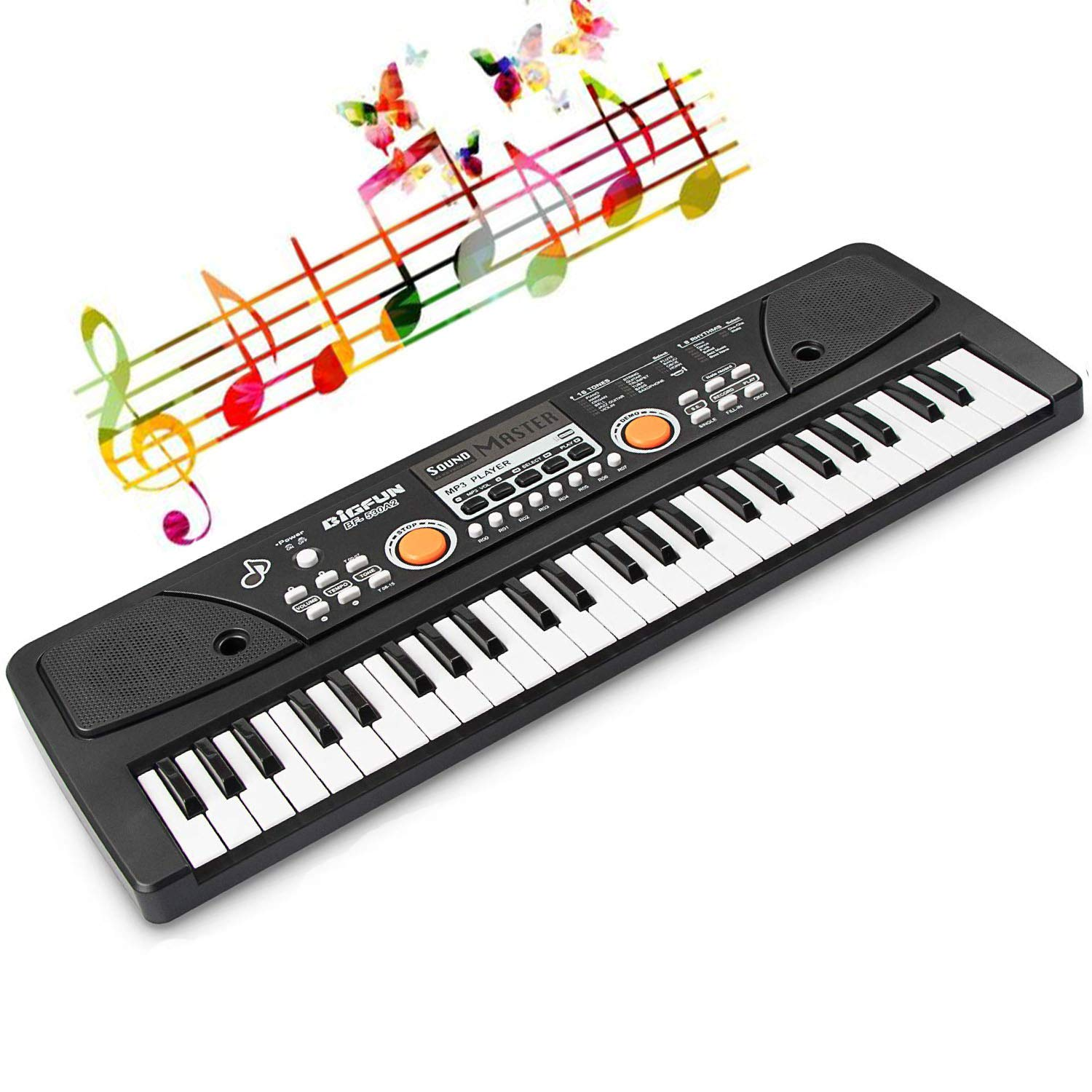 LYBALL Kids Keyboard 49-Key Piano LED Display Electronic Rechargable Piano Keyboard with Microphone Multi Functional Piano for Kids 20.86 Inch (Black) by LYBALL