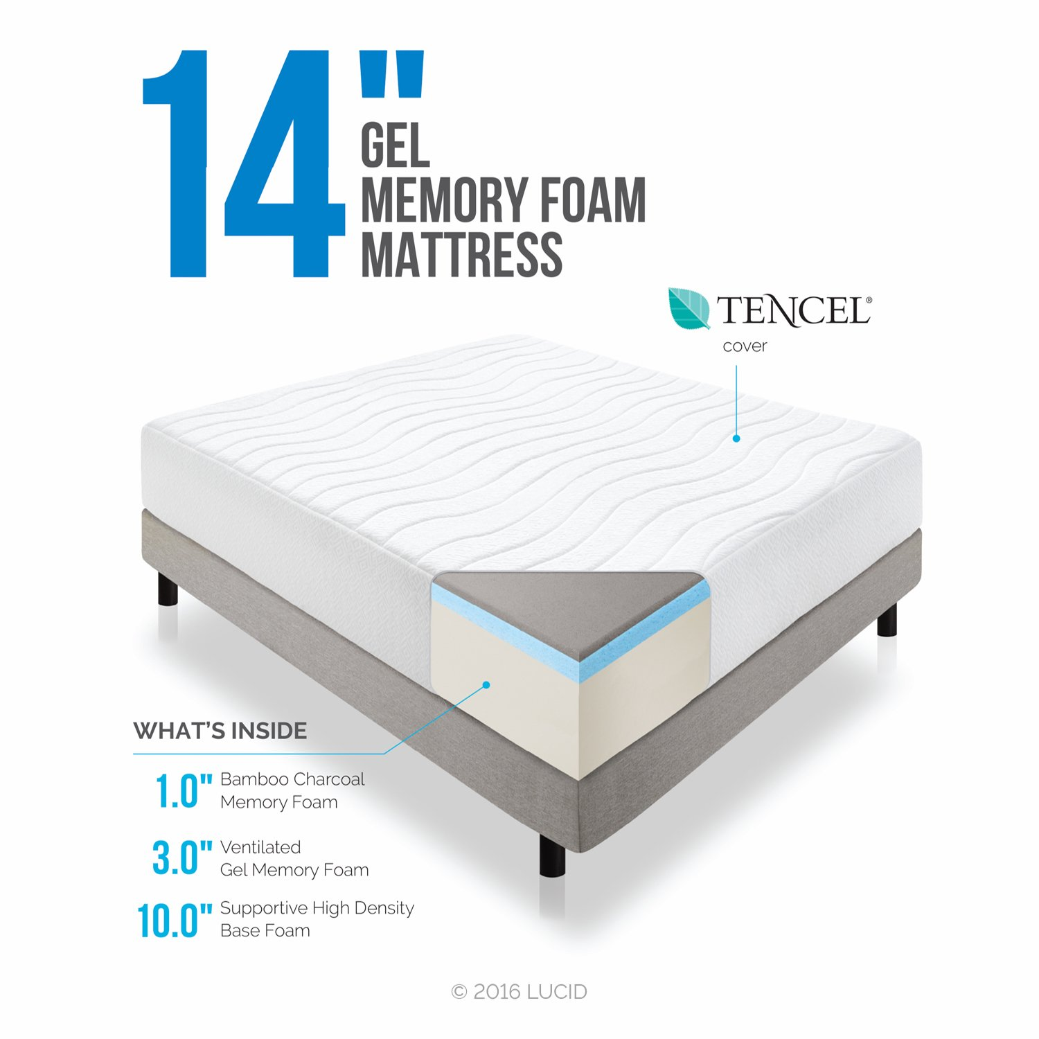 LUCID 14 Inch Plush Memory Foam Mattress - Ventilated Gel Memory Foam + Bamboo Charcoal Infused Memory Foam