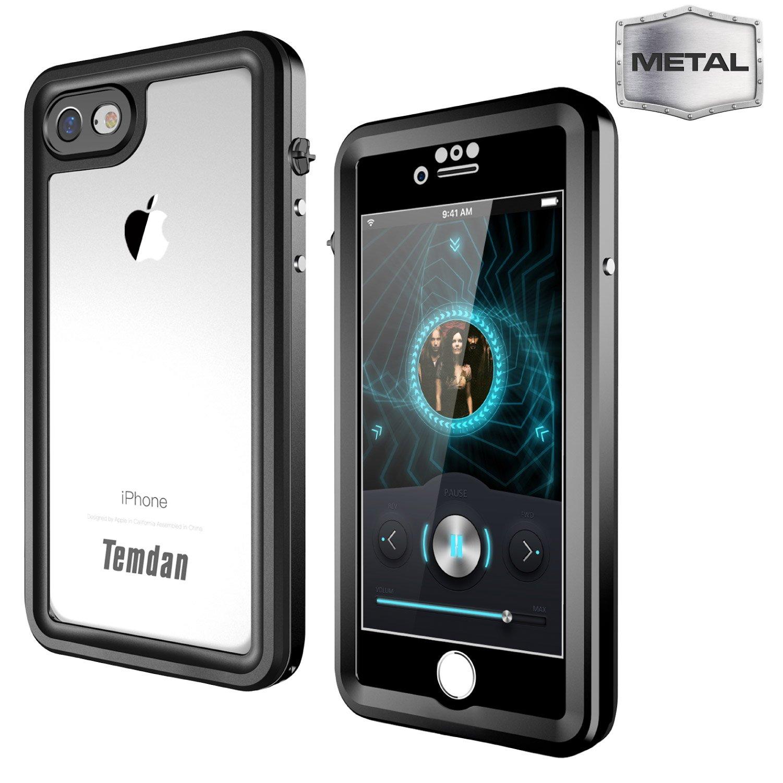 Temdan iPhone 7/8 Metal Waterproof Case Built in Screen Protector Full Body Metal Transparent Cover Shockproof Snowproof IP68 Waterproof Case for iPhone 7 (Metal Black)
