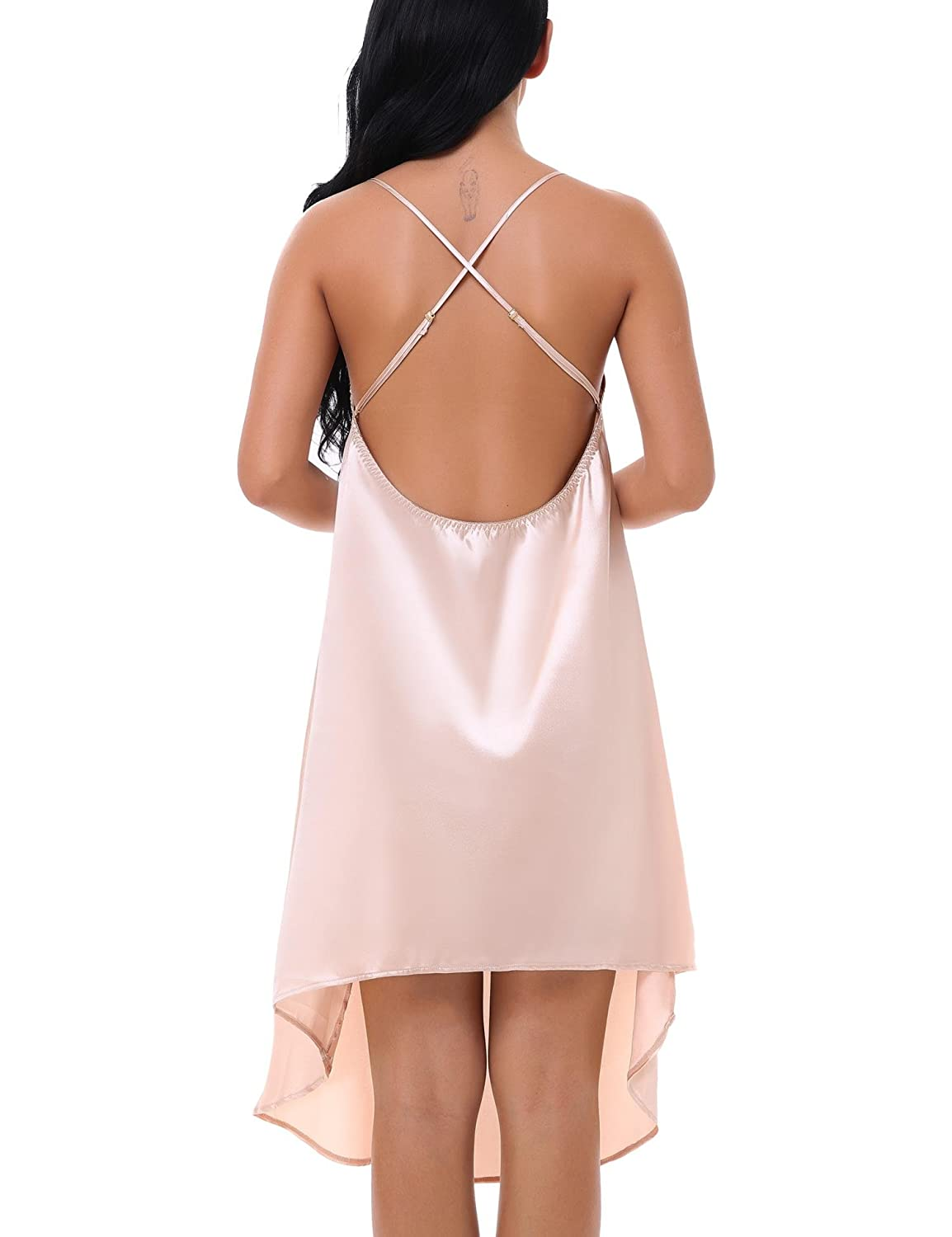 d337d9be64 100% Polyester Fabric  100% Polyester Womens sexy chemise lingerie satin  sleepwear features sexy neckline
