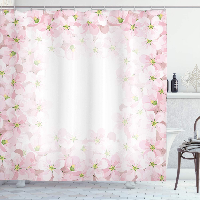 Ambesonne Floral Shower Curtain, Romantic Apple Flower Petals Blooms Nature Essence Beauty Bouquet Image, Cloth Fabric Bathroom Decor Set with Hooks, 70