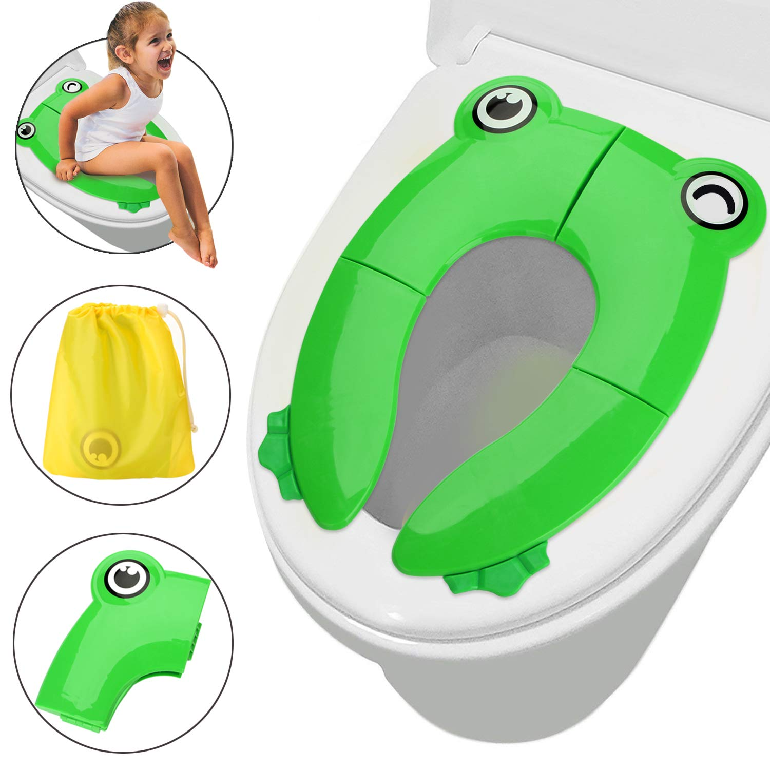 Folding Potty Training Seat for Kids, FITNATE Upgrade Portable Reusable Potty Training Seat Cover Large Non-Slip Pads With Carry Bags for Babies, Toddlers and Kids (Green) (Deep Green) BB0038G-BDFBA