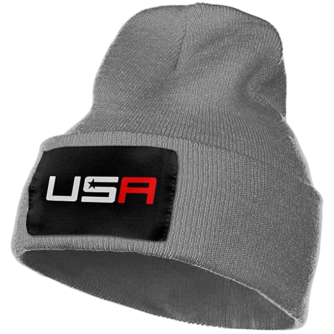 e9e8a127ab43a3 Unisex Winter Hats USA Ryder Cup Golf Logo College Skull Caps Knit Hat Cap  Beanie Cap for Men/Womens Black at Amazon Men's Clothing store: