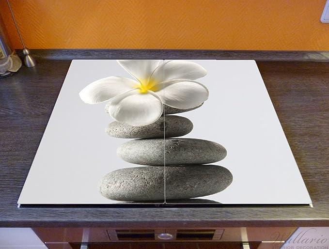 Steinstapel Grünen zen steine Stein Herdabdeckplatte 2-teilig aus Glas 60x52cm