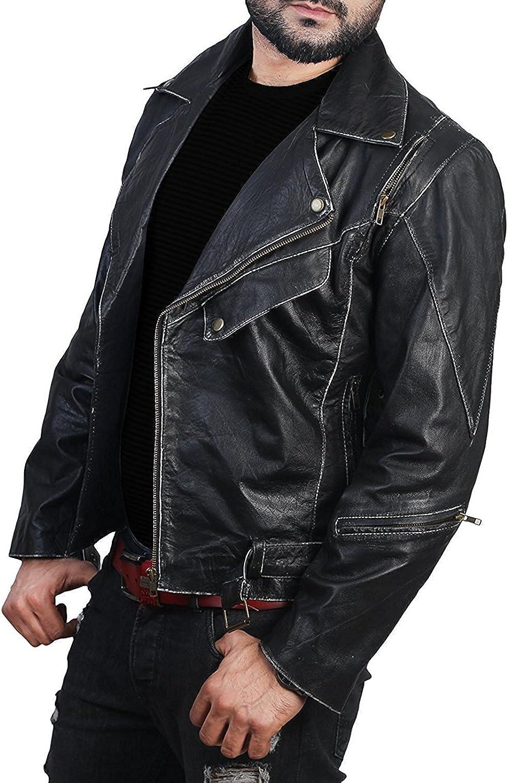 Black Cafe Racer Leather Jacket Mens Brando Heavy Duty Leather Jacket Black Brando Jacket