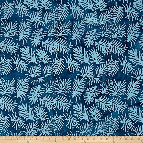 Indian Batik Moody Blues Fern Leaf Blue/Green Fabric By The Yard