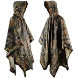 Rain Poncho JTENG waterproof, Rip-Stop for Hunting Camping Military and use with Emergency Grommet Corners for shelter use