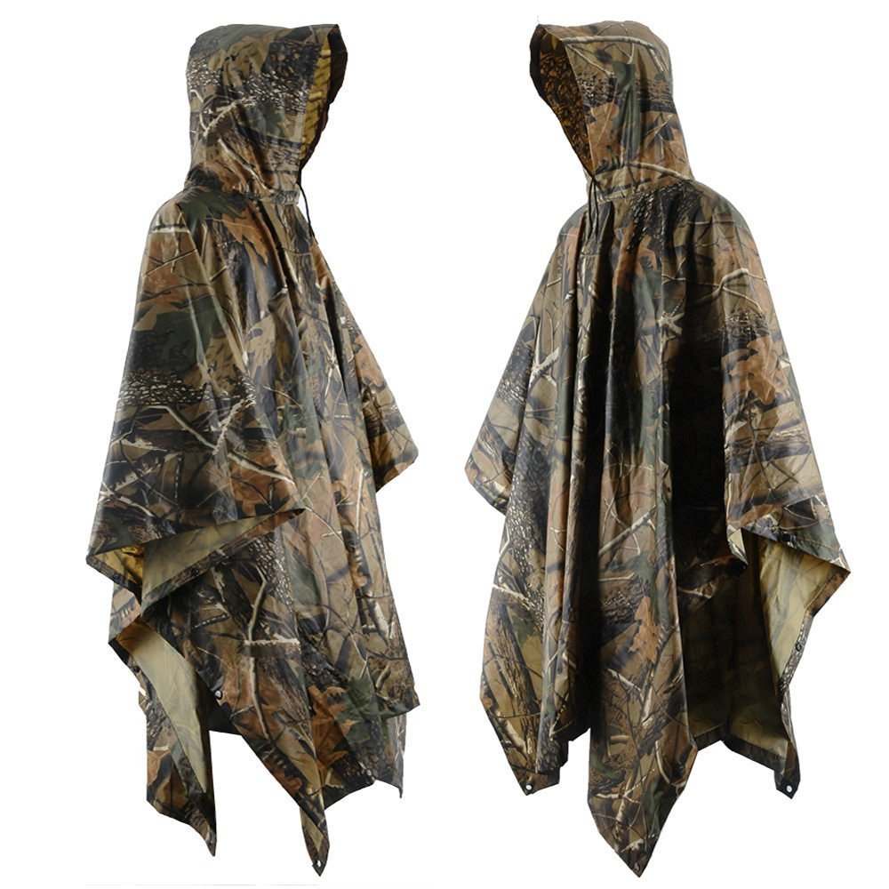 JTENG Rain Poncho Waterproof Ripstop Hooded US PVC Camouflage Rain Coat… One Size…