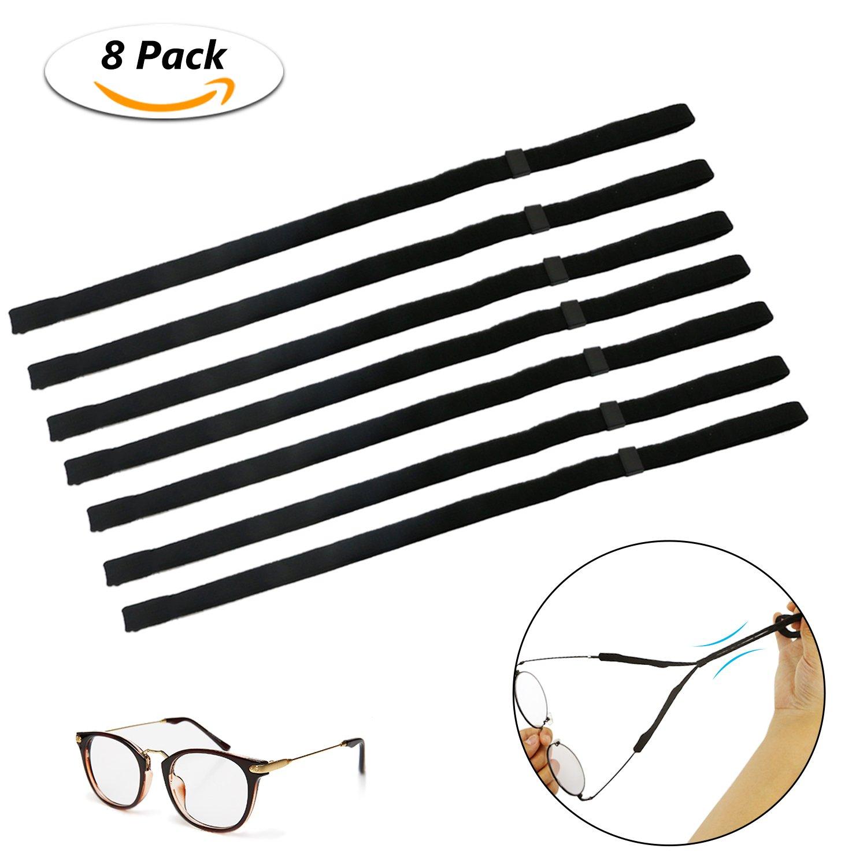Emooqi 8 Pack Adjustable Eyewear Holder Sports Eyewear Retainer Sunglass Holder Strap for Sports and Outdoor Activities (Black)