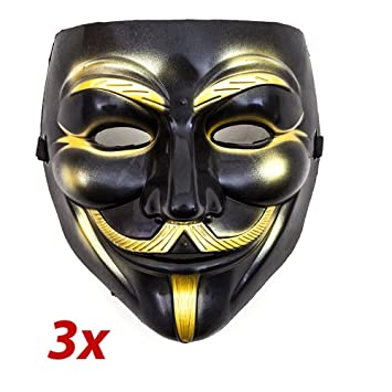 3 x v como Vendetta Máscara Negro Oro Mask Guy Fawkes Anonymous Carnaval Disfraz