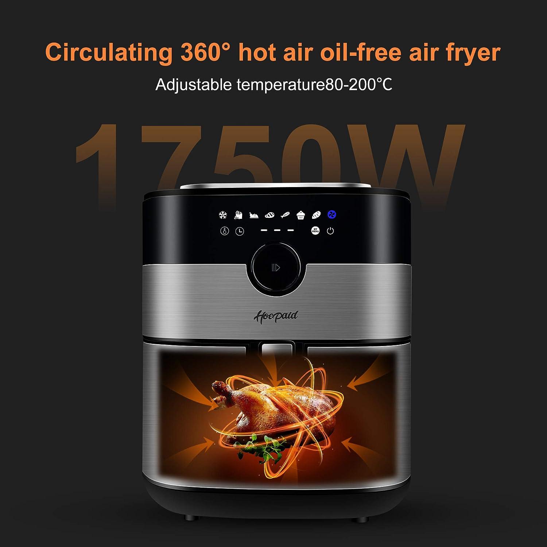 geeignet f/ür B/üro 1750W Luftfritteuse Hoepaid /ölfreie heissluftfriteuse 5,5L mit LED-Digitalanzeige Zuhause oder Party acht voreingestellten Modi Touchscreen und Knopf in Einem