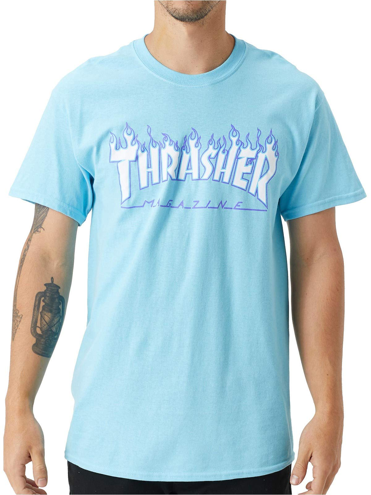 Thrasher Flame S/S Tee Sky Blue M by Thrasher (Image #1)