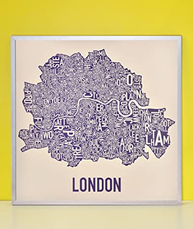 Amazon.com: Framed Central London Neighborhoods Map, Cream & Indigo ...
