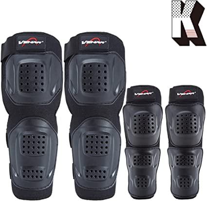 Wonzone 4Pcs Kit Motorcycle Knee Elbow Protector Motocross Racing Knee Guards Sports /& Outdoors Safety Protection Knee Pads Leg Knee with Adjustable Straps Breathable