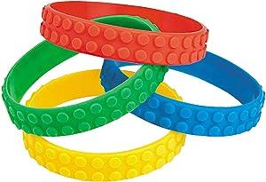 Fun Express Color Brick Building Block Party Favor Bracelets - 12 ct