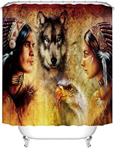 Fangkun Shower Curtain - Blur Mystic Painting of Young Native Man and Women Ethnic Feather with Wolves Ancient - Fabric Bathroom Decor Curtains Set with 12pcs Hooks - 72 x 72 inches