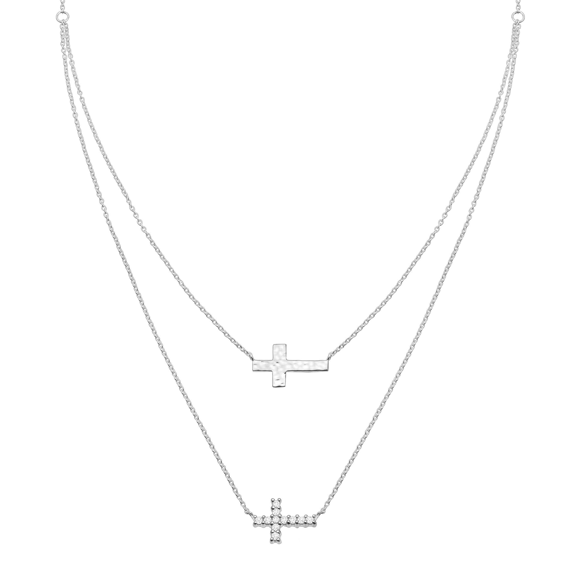 Silpada 'Duplex Cross' Layered Horizontal Cross Necklace with Cubic Zirconia in Sterling Silver