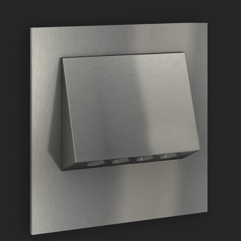 LEDIX LED Einbauleuchte NAVI Edelstahl gebürstet (6x). 230V Treppenbeleuchtung Treppenbeleuchtung Treppenbeleuchtung (1er bis 9er Set) Lichtfarbe  warmweiss. Wandleuchte Treppenlicht. Passend für Ø 60 mm Unterputz Einbaudose (Installationsdose). BITTE WÄHLEN SIE DIE GEW& 1078f9