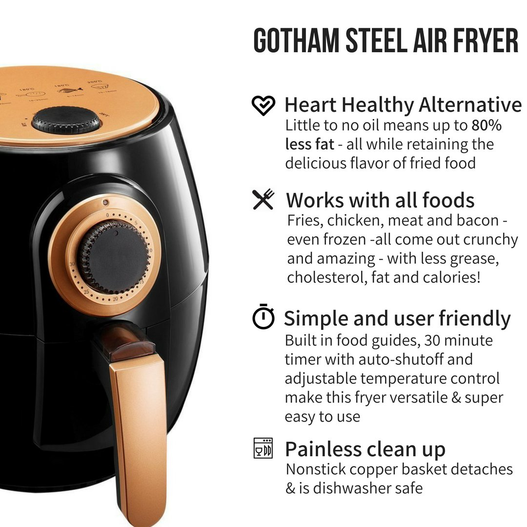 Amazon.com: Freidora de aire Gotham de acero con tecnología ...