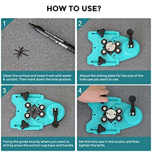 Hole Saw Set,7Pcs Diamond Drill Bits with Hole Saw Guide Jig Fixture, 1/1.2/1.6/2.4/2.8/3.15 inch Coated Core Drill Bits, Adjustable Hole Saw Centering Locator Suction Holder for Glass,Ceramics,Tile (Color: Silver, Tamaño: 26/30/40/50/60/70/80mm)