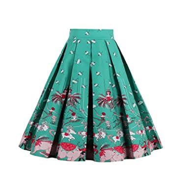eb1b32f8c5bf Beauty7 Damen Audrey Hepburn Rockabilly Stil Faltenrock Elegant ...