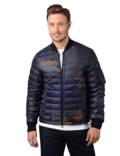 Moncler Jacket - Mens Philippe Down Bomber Jacket in Blue