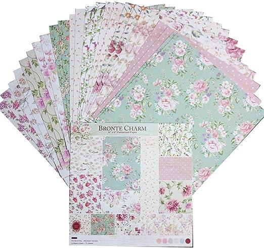 Haodene PE 407 Papel Estampado Patrón 24 Hojas De Paper Decorativas Pack Scrapbooking Estampado para DIY Paper Álbumes De Recortes Decorativa Manualidades - 15.2 X 15.2cm: Amazon.es: Hogar
