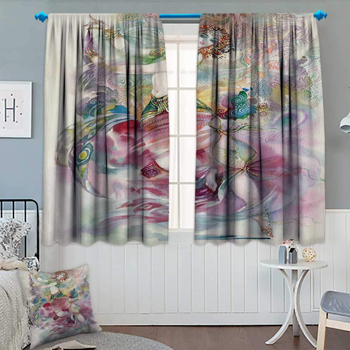 Chaneyhouse Watercolor Waterproof Window Curtain Oriental Dance Theme Young Girl Performing in Traditional Costume Fantasy Figure Blackout Draperies for Bedroom 63'' W x 63'' L Multicolor