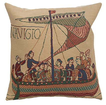 The Bayeux Belgian Decor Bird And Boat Design Woven Tapestry Throw Blanket New Afghans & Throw Blankets