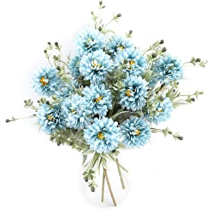 THE BLOOM TIMES 6 Bundles Silk Flowers Artificial for Decoration Fake Chrysanthemum Ball Bouquet Faux Hydrangea Arrangements for Home Wedding Table Centerpieces Indoor Decor in Bulk Wholesale (Blue)